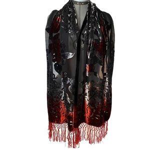 Silk burn-out velvet floral scarf knotted fringe